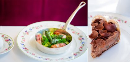 Spring vegetables and Chocolate charlotte are on the menu